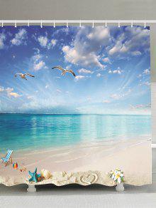 شاطئ المناظر الطبيعية نسيج مقاوم للماء دش الستار - أزرق 150 * 180cm