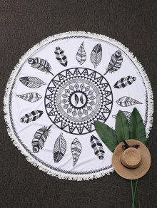 Round Plant Fringed Beach Throw - White