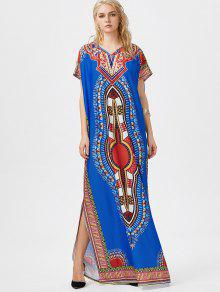 Bohemian Tribal Print Slit Maxi Dress BLUE: Bohemian Dresses ONE ...