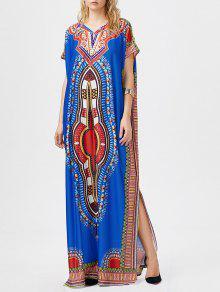 البوهيمي القبلية طباعة الشق فستان ماكسي - أزرق