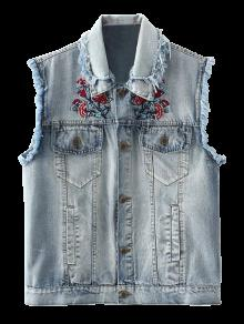 Embroidered Frayed Denim Waistcoat - Cloudy L