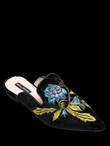 Pointed Toe Embroidered Velvet Flat Shoes - Blue 37