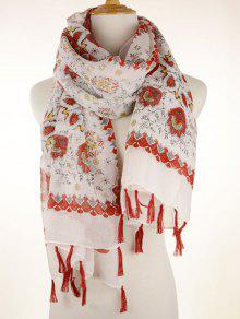 Flower Porcelain Printed Tassel Scarf - Red