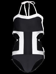 Plus Size Cut Out Color Block Swimwear - Black 4xl