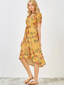 a4efeee2d66 30% OFF  2019 Short Sleeve Midi Floral Dress In YELLOW