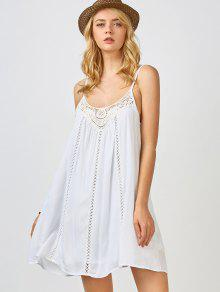 Adjustable Straps Trapeze Slip Dress - White S