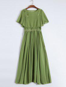 Maxi Cami Dress With Cropped Blouse - Green S