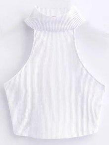 Cropped High Neck Ribbed Top - White S