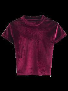 Camiseta Con Cuello De Tripleta De Terciopelo - Burdeos S