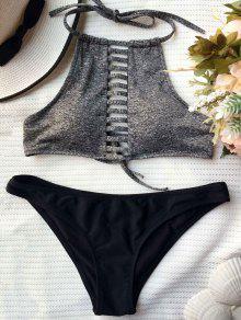 Assortiment De Bikini En Blocage De Couleurs à Lacets - Noir Et Gris L