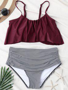 Stripe Panel High Waisted Bikini Set - Wine Red L