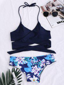 Traje De Bikini Con Panel Floral Con Cordón - Azul Purpúreo L