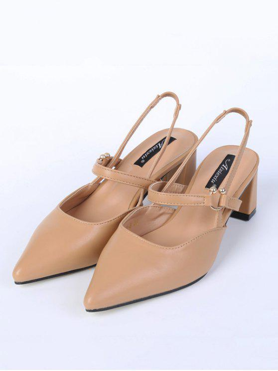 Pointed Toe Chunky Heel Slingback Pumps - Apricot 38