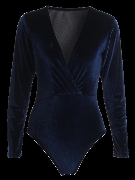 ladies Long Sleeve Velvet Bodysuit - CADETBLUE S