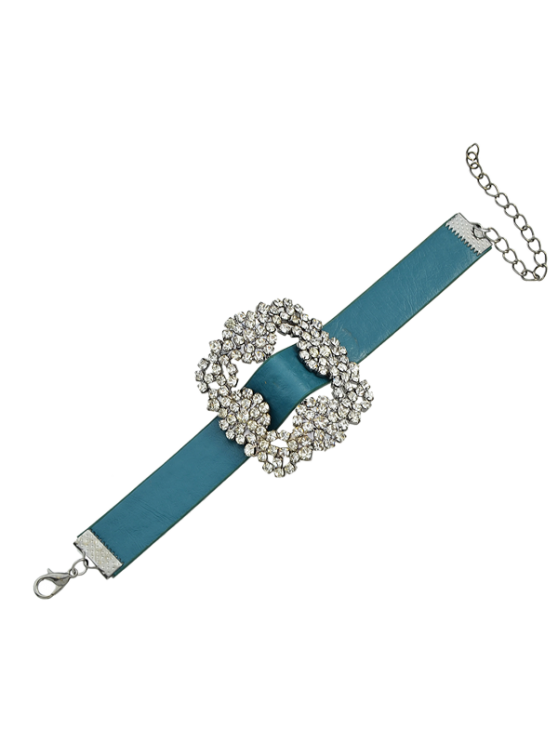 fancy Rhinestone Faux Leather Flower Bracelet - BLUE