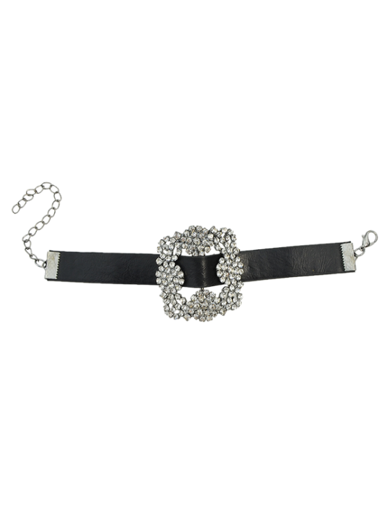 Pulseira Flor Rhinestone Faux Leather - Preto