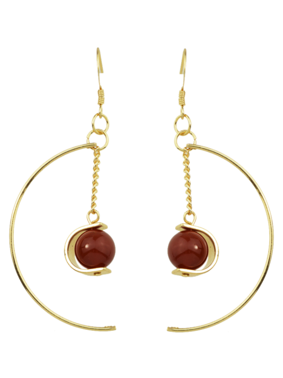 womens Faux Gem Bead Chain Circle Earrings - RED