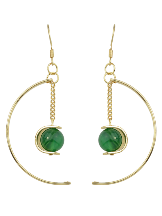 Faux grano de la gema pendientes del círculo de la cadena - Verde