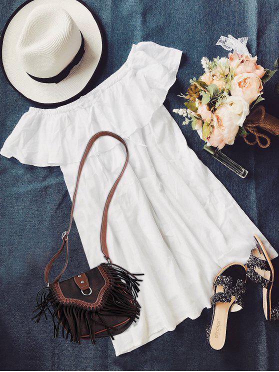 فستان بلا اكتاف - أبيض L