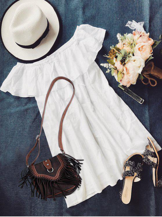 women Frilly Off The Shoulder Dress - WHITE S