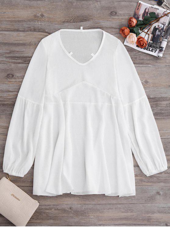 ladies Long Sleeve Flowy Beach Coverup Dress - WHITE M