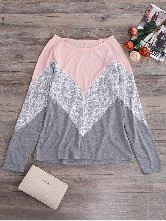 chic Long Sleeves Chevron Panel Tee - GRAY XL