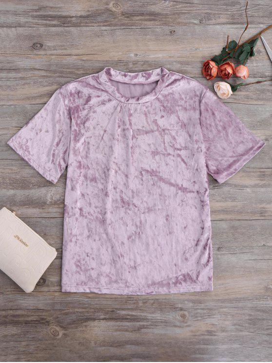Aplastado terciopelo Mock Neck Tee - púrpura rosácea M