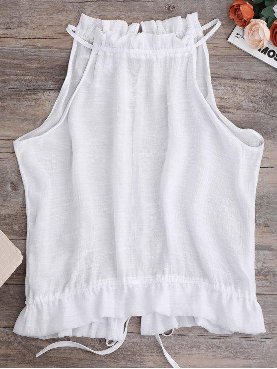 chic Tie Back Frilled Tank Top - WHITE XL