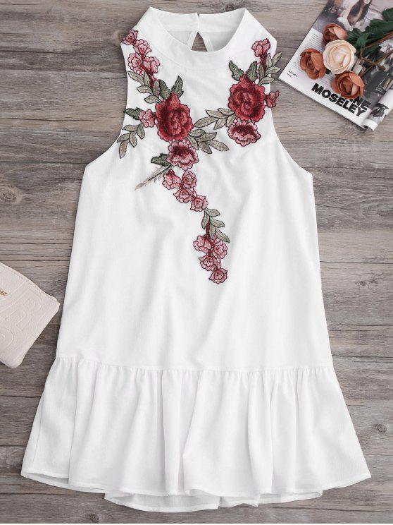 Mini Vestido con Faldas de Volantes con Parches de Bordado - Blanco S