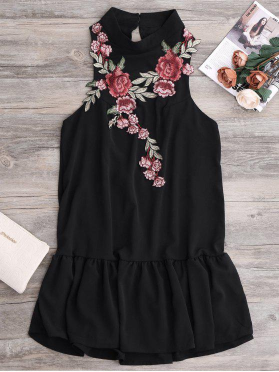 lady Patches Frill Hem Mini Dress - BLACK S
