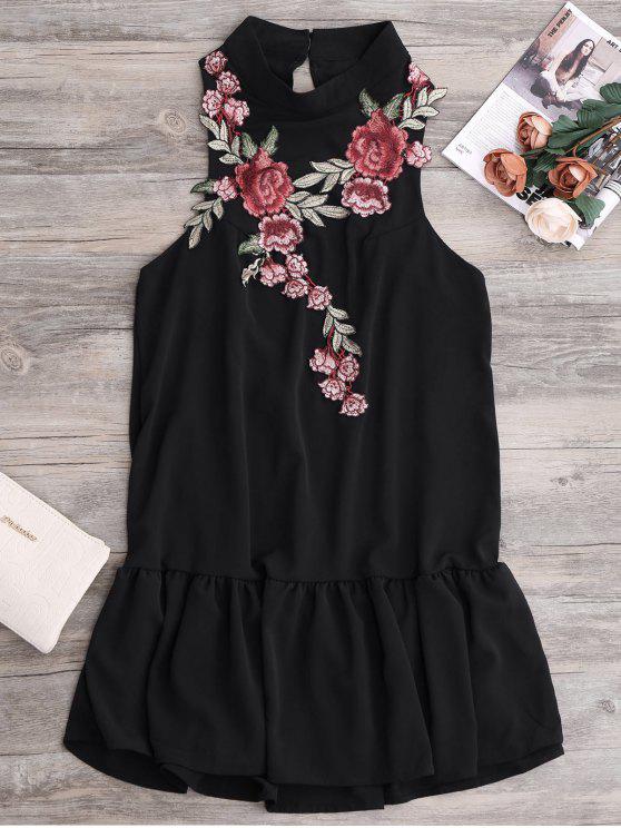 الفستان القصير المكشكش مع الباتش والهدب - أسود L