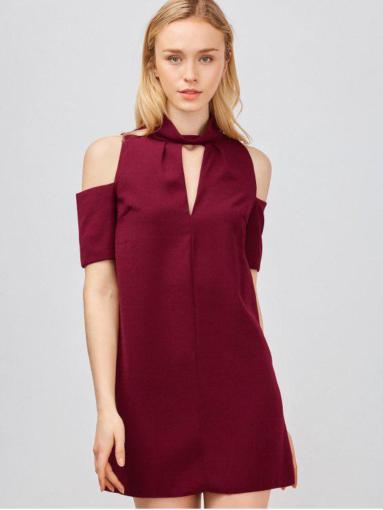 الكتف الباردة قطع ترابيز اللباس - نبيذ أحمر M