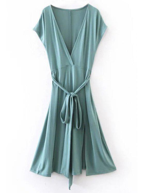 Hundiendo cuello con cinturón Vestido de corte - Azul Verde M