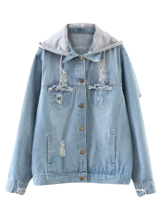 hot Embroidered Ripped Denim Jacket with Hoodie - DENIM BLUE L - Embroidered Ripped Denim Jacket With Hoodie DENIM BLUE: Jackets
