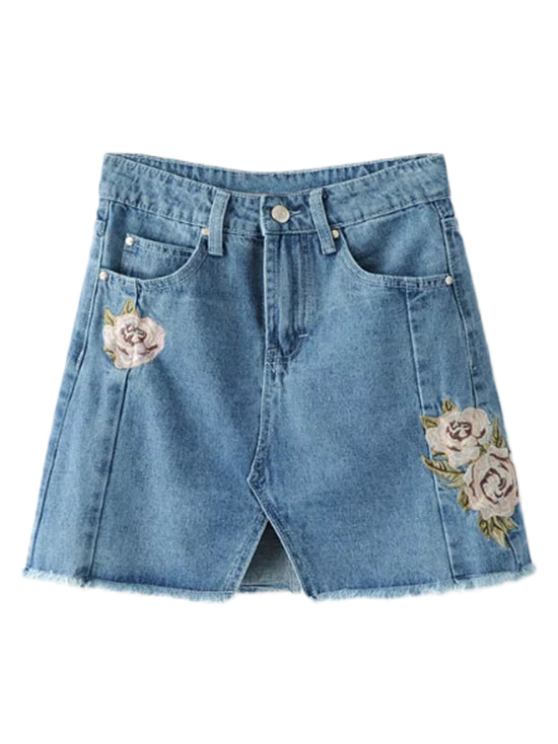 Frente Slit Floral bordado Denim Skirt - Jeans Azul S