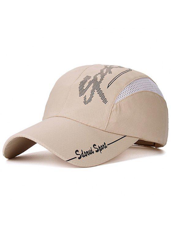 قبعة بيسبول بتداخل شبك مزينة بطبعة كتابة - الحلوى بيج