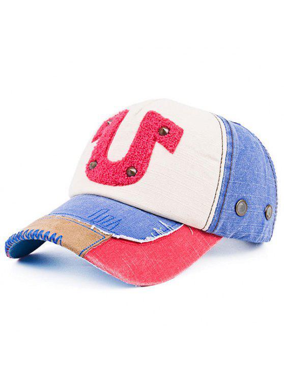 Patchwork Towelling Character Rivet chapéu de basebol - Azul