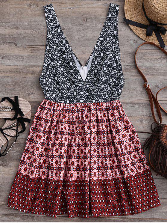 فستان غاررق الرقبة طباعة مصغر - متعدد الألوان L