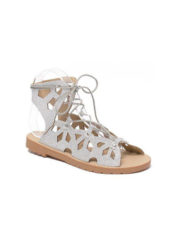 Slingback Metallic Lace Up Cut Out Sandals - Argent 39