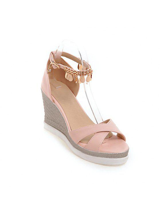 best Wedge Heel Cross Strap Sandals - PINK 39