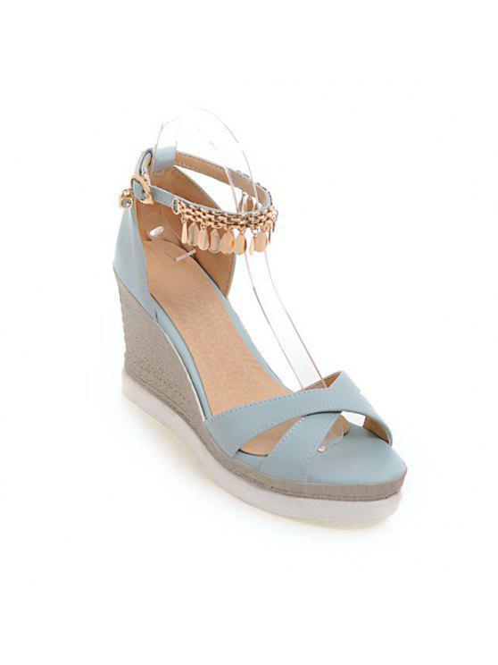 Keilabsatz-Kreuz-Bügel Sandalen - Blau 39