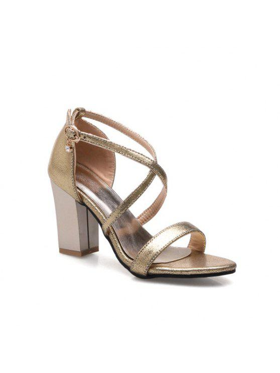 Kreuzgurt Strass Sandalen - Golden 37
