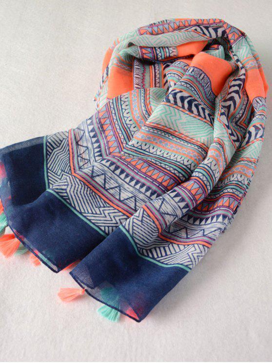 Écharpe frangée imprimée de motif géométrique à style Bohême - Bleu
