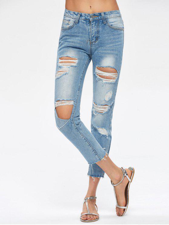 جينز ممزق كابري - أزرق S