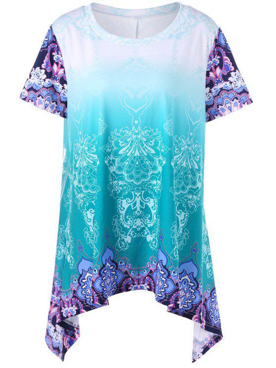 e40c492a4a22c 2018 Plus Size Ombre Graphic Asymmetrical T-Shirt In COLORMIX XL