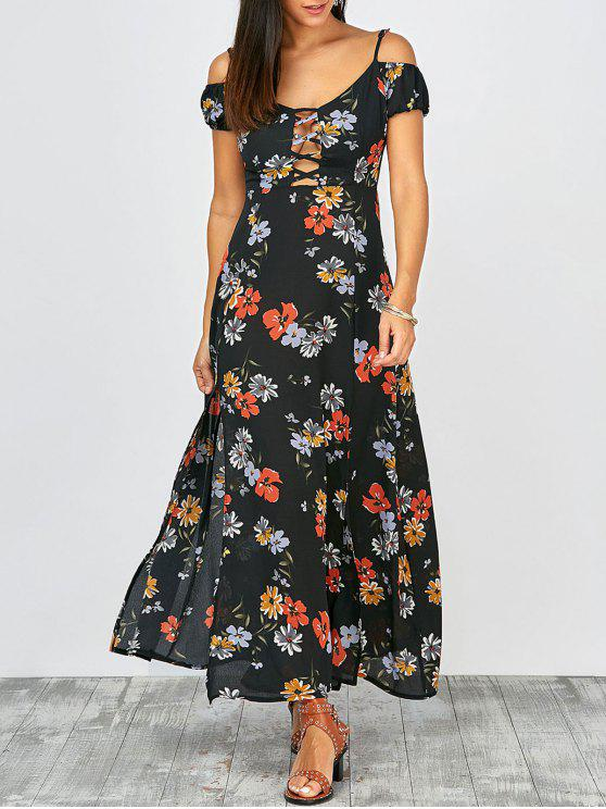 8cb55560c9eb 24% OFF] 2019 Cold Shoulder Floral Print Slit Maxi Summer Dress In ...