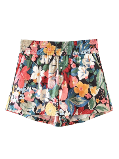 Button Embellished Tropical Floral Shorts - Floral S