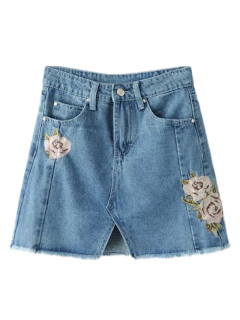 Front Slit Floral Embroidered Denim Skirt - Denim Blue M