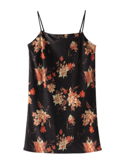 Floral Velvet Cami Dress - Black S