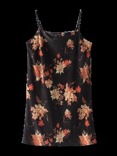 Vestido Floral De Terciopelo Con Tirante Fino - Negro S